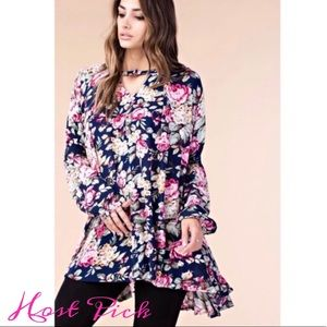 Navy Floral Long Sleeve Tunic